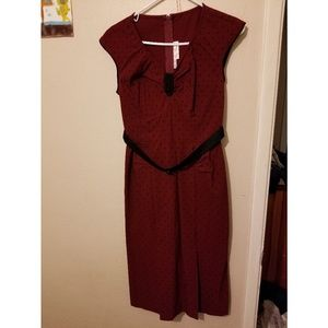 Dresses & Skirts - Burgundy and black polk-a-dot dress